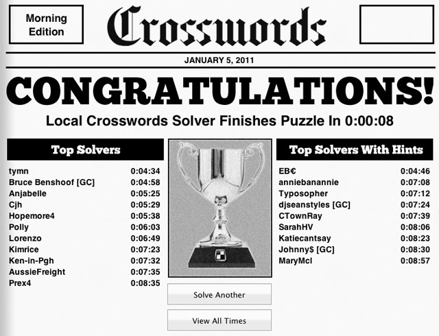 Crossword puzzle leaderboard